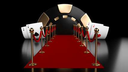 Red Carpet Poker Concept With Four Aces - 3D Illustration