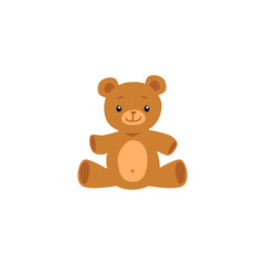 Cute teddy bear toy image or icon flat cartoon vector illustration isolated.
