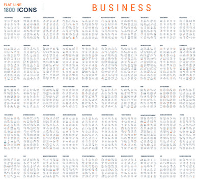 Collection of Linear Business Icons