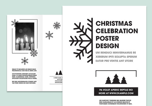 Black and White Trifold Brochure Layout with Snowflake Illustrations