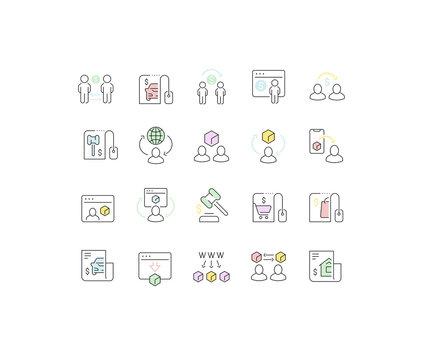 Set Vector Line Icons of C2C