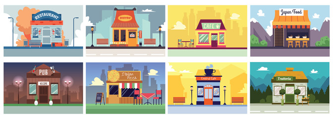 Zelfklevend Fotobehang Restaurant Colorful cafe and restaurant building banner set in flat cartoon style.