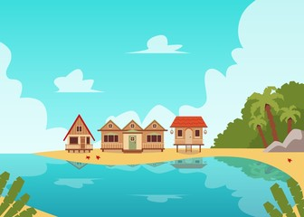 Tropical island coast line landscape with wooden beach house huts
