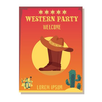 Cowboy invitation template for wild west party flat vector illustration.