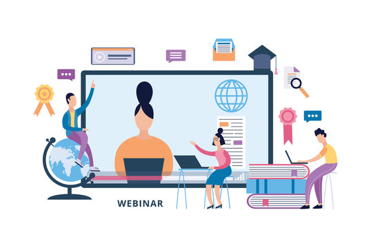 Online webinar and education banner with people flat vector illustration isolated.