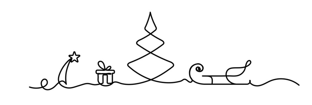 new year one line illustration with the new year tree star and gift