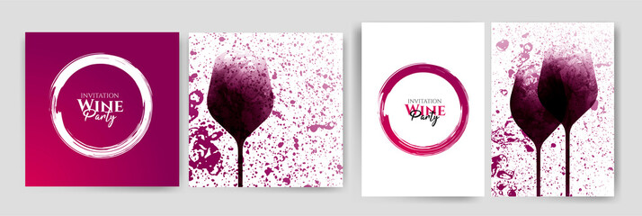 Collection of templates with wine designs. Wine glass illustration. Background texture and stains of red wine.