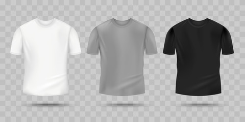Blank realistic t-shirt mockup set in white, grey and black color.