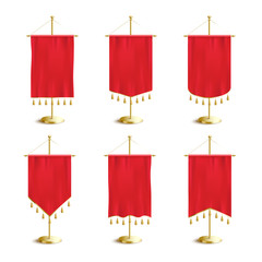 Red various shapes pennants or flags set of 3d vector illustration isolated.
