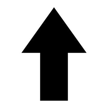 Simple black arrow up symbol isolated on white, upload icon
