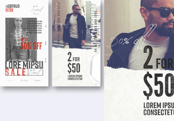 Sale Social Media Post Layout Set with Blue Elements