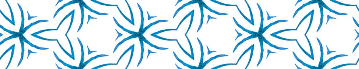 Blue handdrawn Seamless Border Scroll. Geometric W