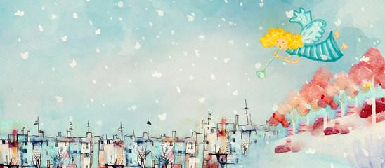 Christmas angel. Watercolor banner