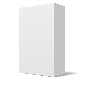 Package box mock up template isolated on white background. White box mockup. Vector illustration