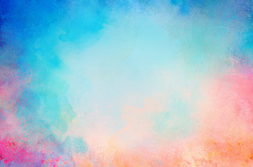 blue watercolor paint background design with colorful orange pink borders and bright center, watercolor bleed and fringe with vibrant distressed grunge texture Wall mural
