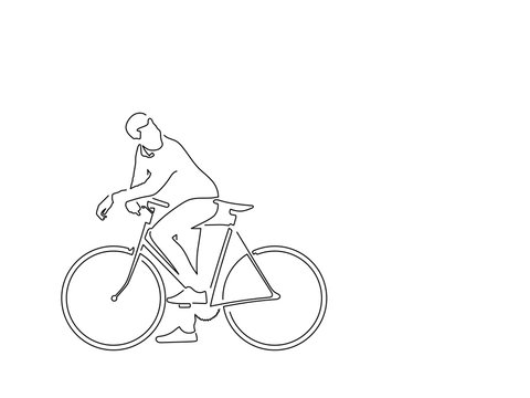 Man with a bike isolated line drawing, vector illustration design. Urban life collection.