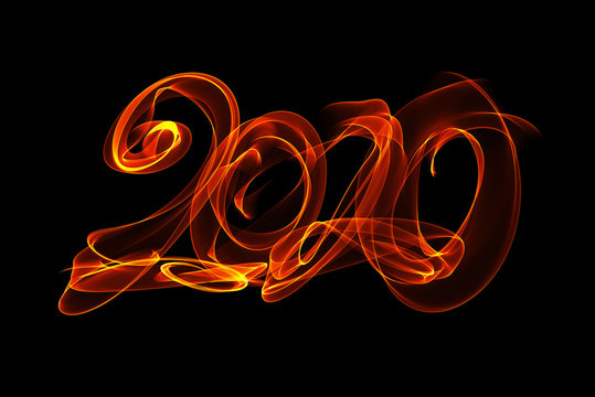 Happy new year 2020 isolated numbers lettering written with fire flame or smoke on black background