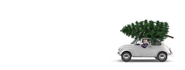 Kleines Auto mit Weihnachtsbaum auf dem Dach und einer Frau am Steuer