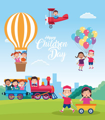 happy children day celebration with kids playing with toys