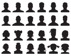 Silhouettes of human heads, avatar profiles on a white background