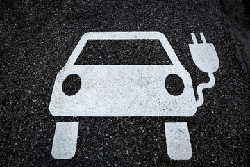 Symbol for a charging ststion for electric vehicles on tarmac