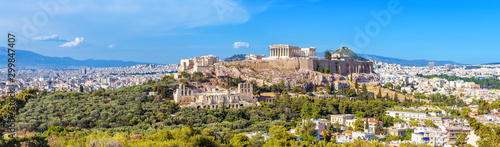 Fototapete Panorama of Athens with Acropolis hill, Greece. Famous old Acropolis is a top landmark of Athens. Landscape of the Athens city with classical Greek ruins. Scenic view of remains of ancient Athens.