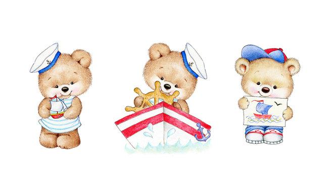 3 cute Teddy bears sailors