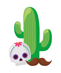 cactus with skull mask mexican and moustache
