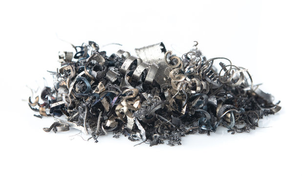Pile of scrap metal shavings isolated on white background