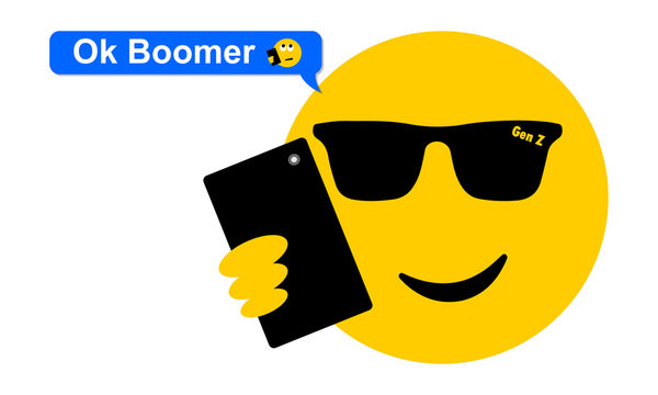 Selfie sunglasses face emoji texting OK Boomer, generation z verses baby boomer social media expression and meme