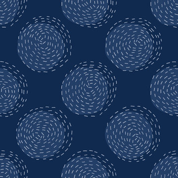 Embroidery Circle Sashiko Kantha Vector Pattern. Asian Needlework Seamless Background. Indigo Blue Style. Running Hand Stitch Texture for Textile Print, Japan Decor. Simple Kimono Quilting EPS 10