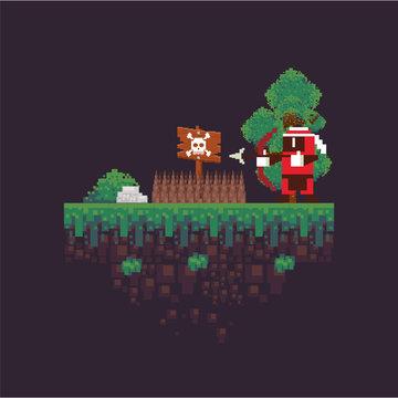 video game archery warrior in pixelated scene