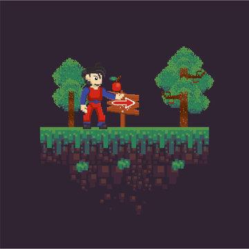 video game warrior in pixelated scene