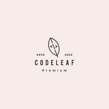 code leaf leaves logo hipster retro vintage vector for web front back end developers