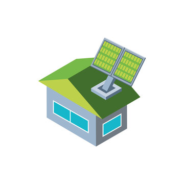 house building with solar panel on white background
