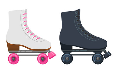set of white and black roller-skates in flat style. Vector illustration
