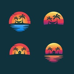 Set beach logo design vector illustration