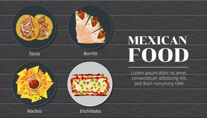 Tacos,nachos,burrito,enchiladas mexican food menu vector graphic design