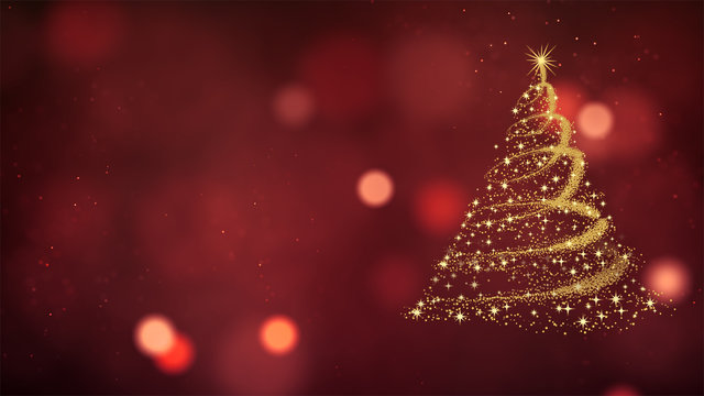 During the winter months of December celebration in the golden gift merry Christmas tree image of a star on the red color background texture of red bokeh objects.for postcard