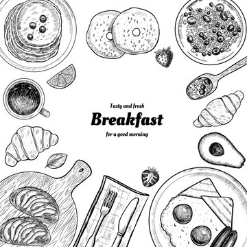 Healthy breakfast  frame. Breakfast table with pancakes, fried eggs, granola and fresh berries. Hand drawn illustration. Vintage style