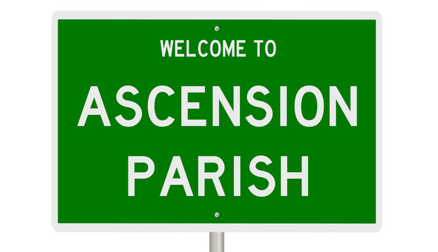 Rendering of a green 3d sign for Ascension Parish