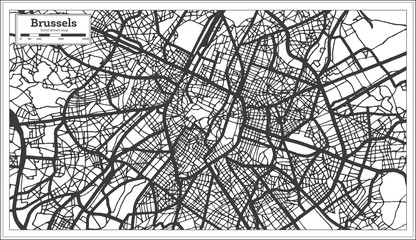 Brussels Belgium City Map in Black and White Color. Outline Map.