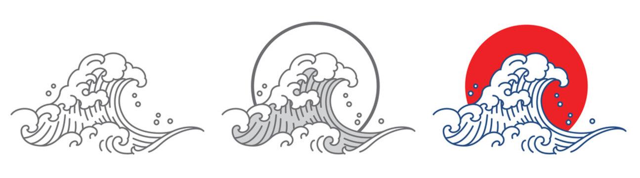 Japan great ocean wave and sun set vector illustration.