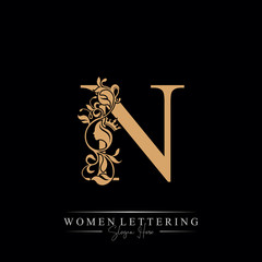 Initial letter Luxury N logo with beautiful woman portrait. Leaf Ornament Luxury glamour concept.