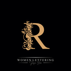 Initial letter Luxury R logo with beautiful woman portrait. Leaf Ornament Luxury glamour concept.