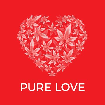 Marijuana leaf heart vector illustration