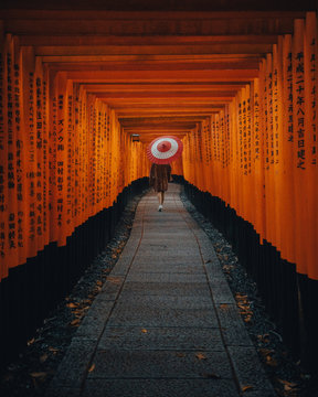Girl with Umbrella in Kyoto Japan Fushimi Inari