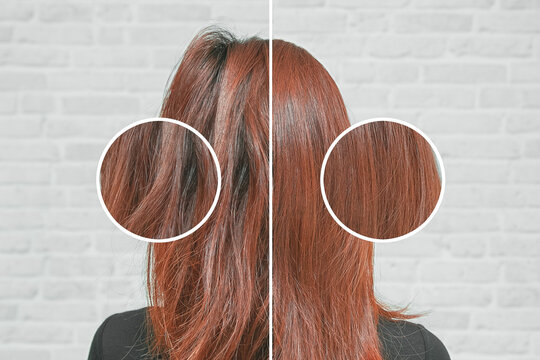 Healthy hair care keratin. Before and after treatment.