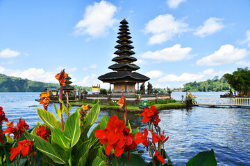 Beautiful view of Lake Beratan and Ulun Danu Temple, Bedugul, Bali.