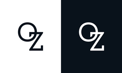 Minimalist line art letter OZ logo. This logo icon incorporate with two letter in the creative way.